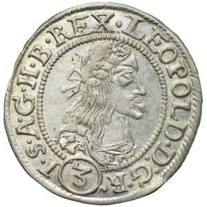 Węgry, Leopold I, 3 krajcary 1665 KB, Kremnica