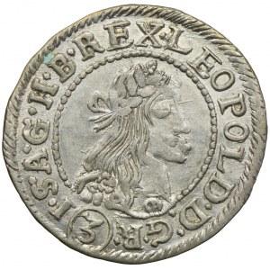 Węgry, Leopold I, 3 krajcary 1677 KB, Kremnica