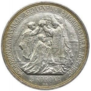 Węgry, Franciszek Józef I, 5 koron 1907, Kremnica, Koronacja