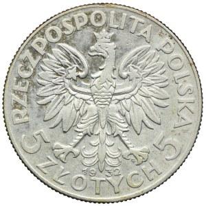 5 złotych 1932 ze znakiem mennicy, Warszawa, Głowa Kobiety