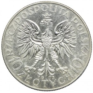 10 złotych 1932, ze znakiem, Głowa Kobieta