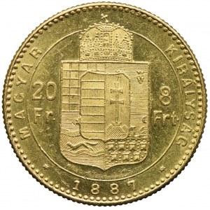 Węgry, Franciszek Józef I, 20 franków=8 forintów 1887, Kremnica