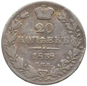 Rosja, Mikołaj I, 20 kopiejek 1838 НГ, Petersburg
