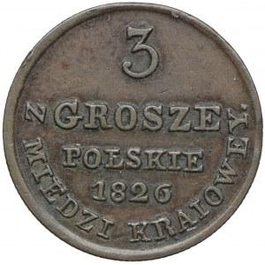 Królestwo Kongresowe, Aleksander I, 3 grosze polskie z miedzi krajowej 1826, Warszawa