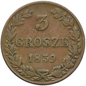 Królestwo Kongresowe, Mikołaj I, 3 grosze 1839 MW, Warszawa
