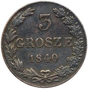 Królestwo Kongresowe, Mikołaj I, 3 grosze 1840 MW, Warszawa