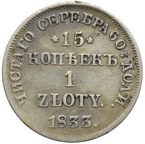 Zabór rosyjski, Mikołaj I, 15 kopiejek=1 złoty 1833 НГ, Petersburg