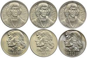 Zestaw, 10 złotych 1959-72, Mikołaj Kopernik, Tadeusz Kościuszko (6szt.)