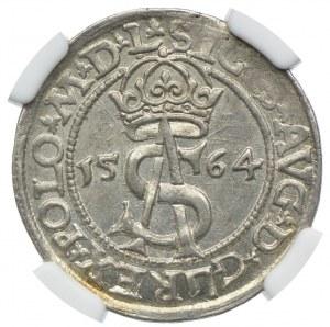 Zygmunt II August, trojak 1564, Wilno, NGC MS63