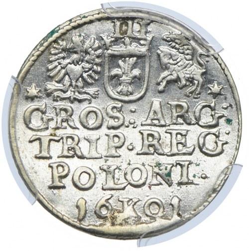 Zygmunt III Waza, trojak 1601 K, Kraków, PCGS MS62