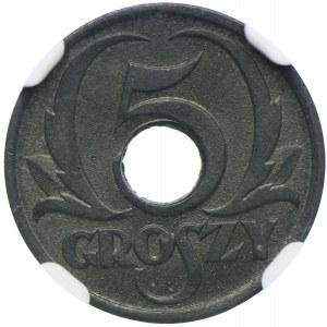 Generalna Gubernia, 5 groszy 1939, Warszawa, NGC MS65