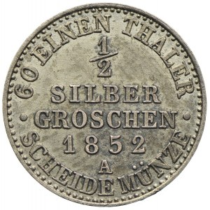 Niemcy, Prusy, Fryderyk Wilhelm IV, 1/2 grosza srebrnego 1852, Berlin