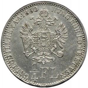 Austria, Franciszek Józef I, 1/4 florena 1860, Wiedeń