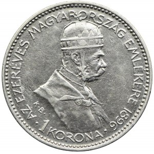 Węgry, Franciszek Józef I, 1 korona 1896, Kremnica, Tysiąclecie Węgier
