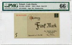 5 marek 1940 Łódź Getto PMG 66 EPQ - czerwony numerator