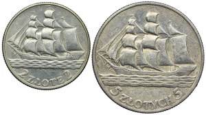 Zestaw monet, 2 złote, 5 złotych, 1936 Żaglowiec (2szt.)