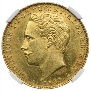Portugalia, Ludwik I, 10000 reis 1881, Lisbona, NGC MS61
