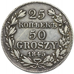 Zabór rosyjski, 25 kopiejek=50 groszy 1845 MW, Warszawa