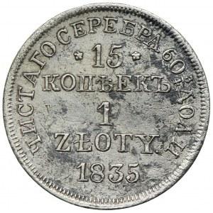 Zabór rosyjski, Mikołaj I, 15 kopiejek=1 złoty 1835 MW, Warszawa