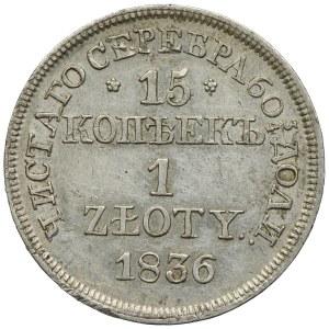 Zabór rosyjski, Mikołaj I, 15 kopiejek=1 złoty 1836 MW, Warszawa