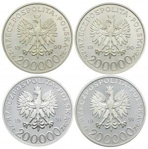 Zestaw lustrzanek, 200000 złotych 1990-1991, Tadeusz Komorowski, Stefan Rowecki, Witold Okulicki, Michał Tokarzewski (4szt.)