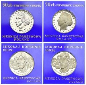 Zestaw, 50 złotych Chopin 1972, 1974, 100 złotych Kopernik 1973, 1974 (4szt.)