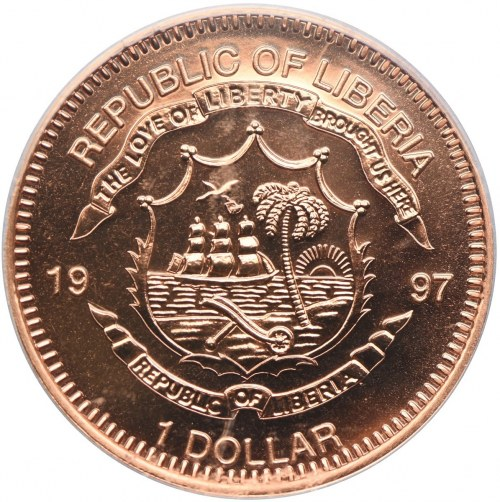 Liberia, 1 dolar 1997 Panda, PCGS MS68 RD