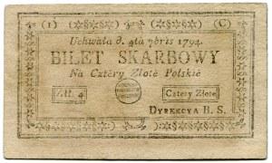 Bilet skarbowy 4 złote 1794 (1)(C)