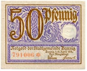 50 fenigów 1919, Gdańsk, fioletowy