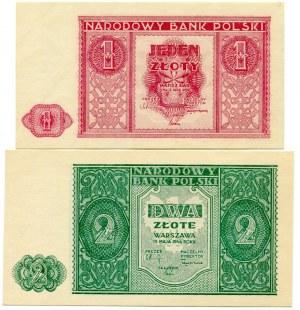 Zestaw banknotów 1 złoty, 2 złote 1946