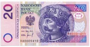 20 złotych 1994, seria AA 0009410