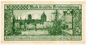 Wolne Miasto Gdańsk, 10 milionów marek 1923, bez oznaczenia serii, nieodwrócony napis