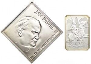Zestaw, 20 złotych 2003 Jan Paweł II, 10 złotych 2007 rycerz ciężkozbrojny (2szt.)