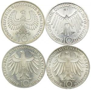 Niemcy, zestaw 10 marek 1972 (4szt.)