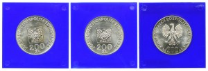 Zestaw, 200 złotych 1974 XXX lat PRL, 200 złotych 1975 Żołnierze (3szt.)