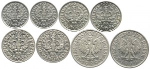 Zestaw, 10, 20, 50 groszy 1923, 1 złoty 1929 (8szt.)