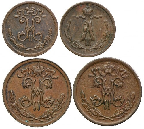 Rosja, zestaw 1/4 kopiejki 1886, 1899 , 1/2 kopiejki 1909, 1913 (4szt.)