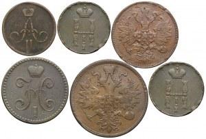 Rosja, zestaw kopiejka 1865, 1852, 2 kopiejki 1865, 1842, 5 kopiejek 1865, 1 kopiejka 1847 (6szt.)