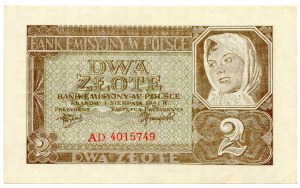 Polska, Generalna Gubernia, 2 złote 1941 - AD -