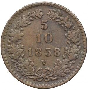 Austria, 5/10 krajcara 1858 V, Wenecja
