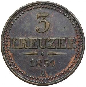 Austria, 3 krajcary 1851, Wiedeń