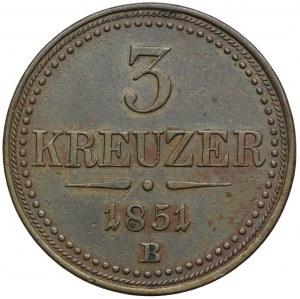 Austria, 3 krajcary 1851, Kremnica