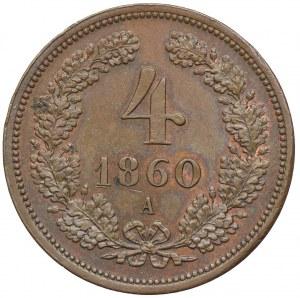 Austria, Franciszek Józef I, 4 krajcary 1860, Wiedeń