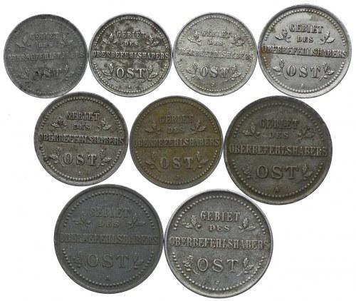 Zestaw, Ost, 1-3 kopiejki 1916 (9 szt.)