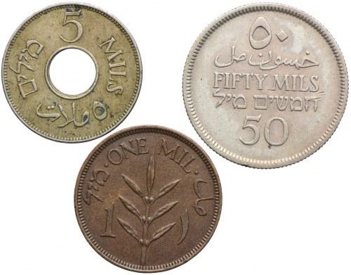 Palestyna, zestaw 1, 5, 50 mils 1927-1939 (3szt.)