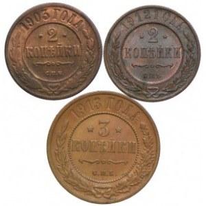 Rosja, zestaw 2, 3 kopiejki 1903-1913 (3szt.)