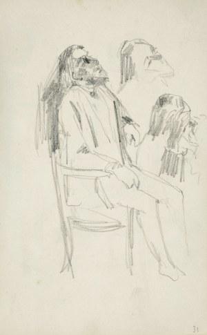 Stanisław Kaczor Batowski (1866-1945), Szkic ukazanego tyłem mężczyzny siedzącego na krześle trzymającego sztalugę