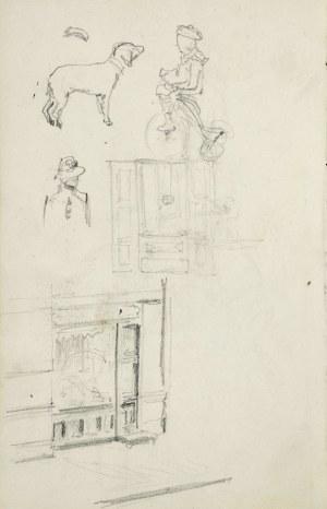 Stanisław Kaczor Batowski (1866-1946), Szkice: mężczyzny siedzącego na krześle, ukazanego z prawego boku, od tyłu oraz psa