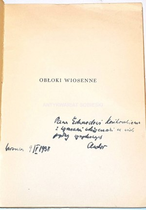 PIĘTAK - OBŁOKI WIOSENNE dedykacja autora dla Edwarda Kozikowskiego