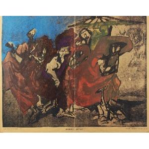 """Feliks TOPOLSKI (1907-1989), Buddyjscy mnisi - arkusz z """"Topolski`s Chronicle"""" No 24 (276) XII 1965"""